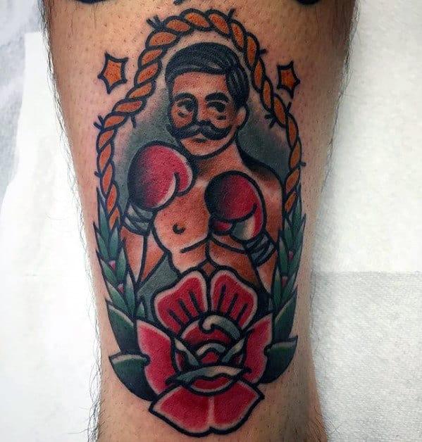Retro Olds Chool Traditional Mens Leg Boxer Tattoo Ideas