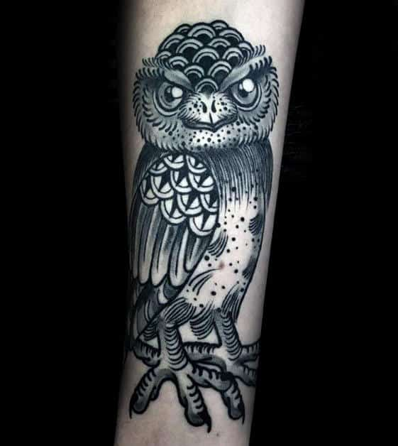 Retro Owl Mens Black And Grey Ink Inner Forearm Tattoo Ideas