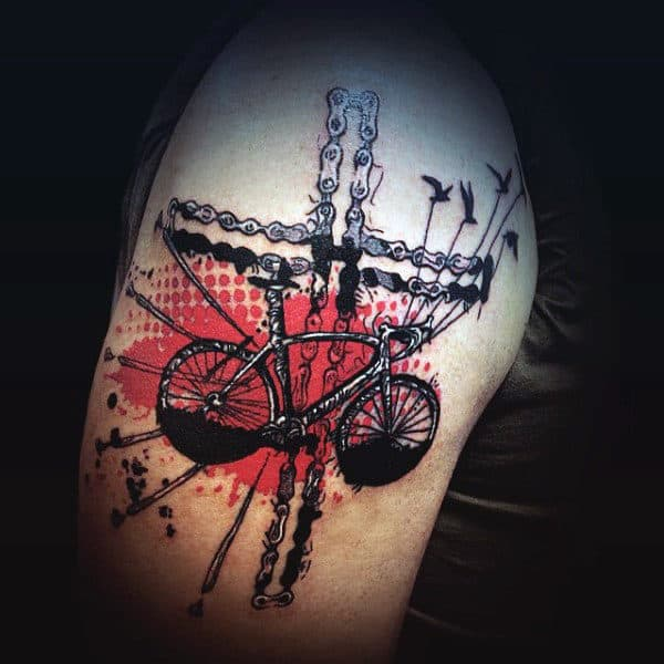 Retro Red Bicycle Art Tattoo For Men On Arms