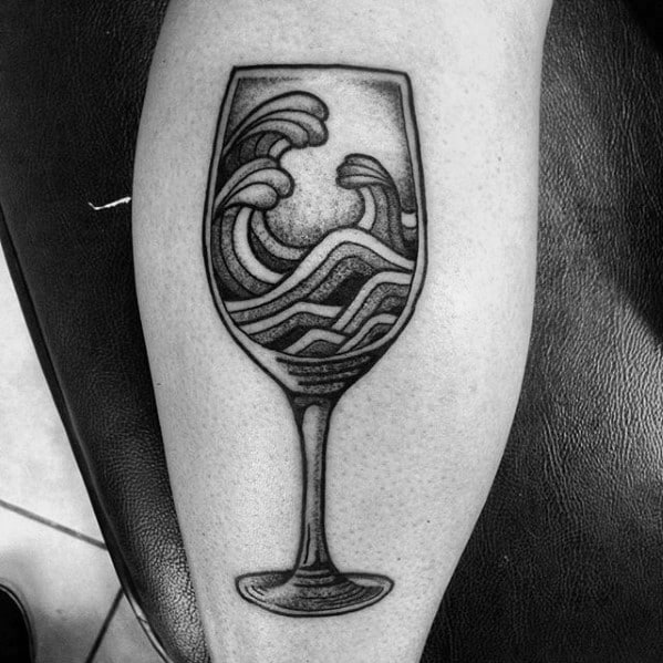 Retro Shaded Ocean Waves Wine Male Tattoo Ideas On Leg