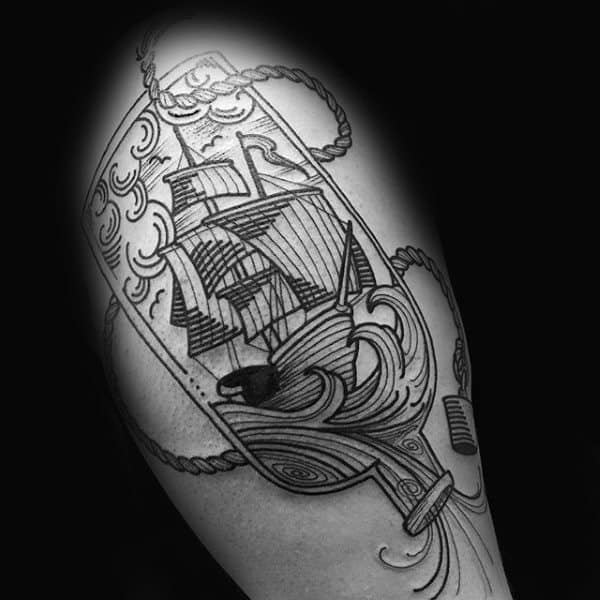 Retro Ship In A Bottle Arm Tattoos For Guys