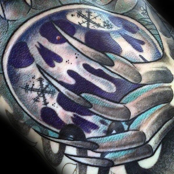 Retro Skull Sleeve Guys Crystal Ball Tattoos