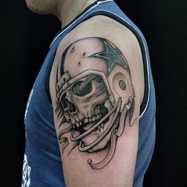 Retro Skull With Football Helmet Mens Upper Arm Tattoo