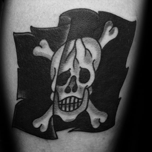 Retro Small Pirate Flag Traditional Mens Arm Tattoos