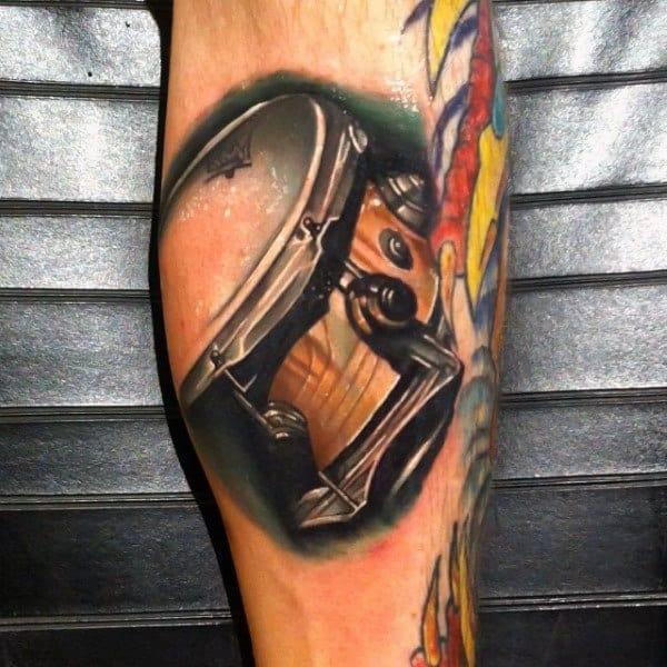 Retro Snare Drum Tattoo Ideas On Men