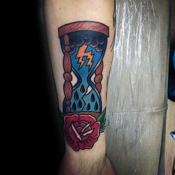 Retro Storm Inside Traditional Hourglass With Red Rose Flower Tattoo For Men