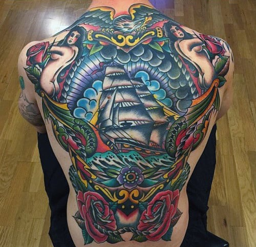 Retro Traditional Back Ship And Roses Guys Tattoos