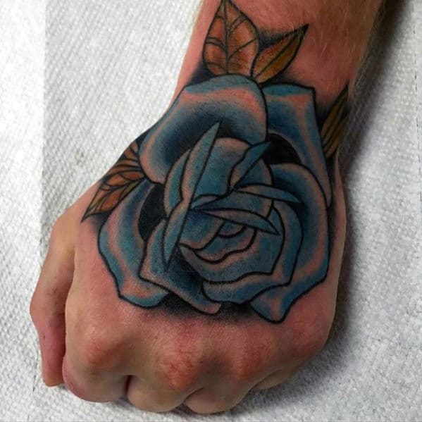 Retro Traditional Blue Rose Flower Guys Tattoo On Hands