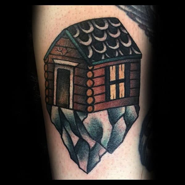 Retro Traditional Cabin On Mountain Rock Mens Arm Tattoo