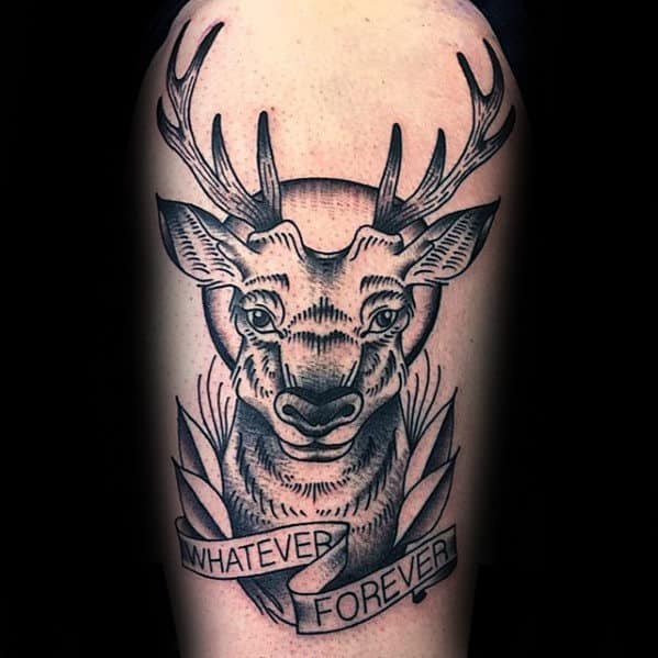 Retro Traditional Deer With Banner Guys Arm Tattoos
