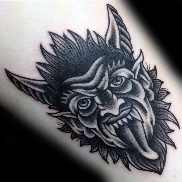 Retro Traditional Devil Black And Grey Mens Arm Tattoo