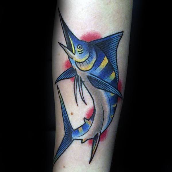 Retro Traditional Forearm Marlin Mens Tattoo Designs