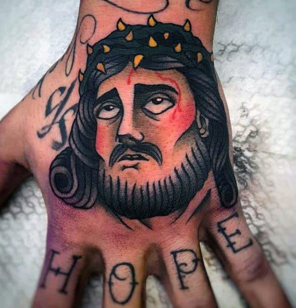 Retro Traditional Jesus Mens Hand Tattoos