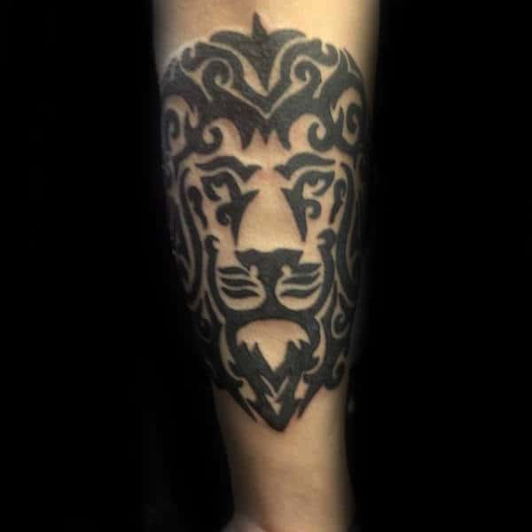 Retro Tribal Lion Male Tattoo On Outer Forearm