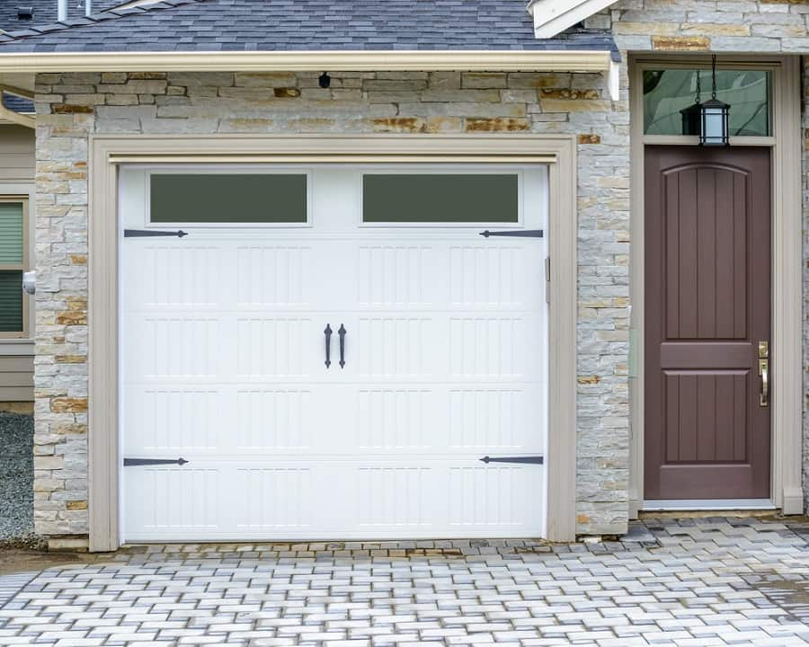 Rustic Dark Grey Wood Home Ideas Garage Doors With Brick Cladding