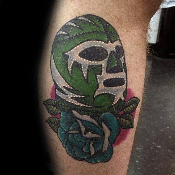 Retro Wrestling Green Mask Leg Calf Guys Tattoos