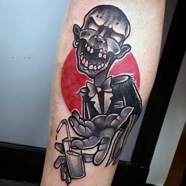 Retro Zombie Forearm Tattoo Design For Guys