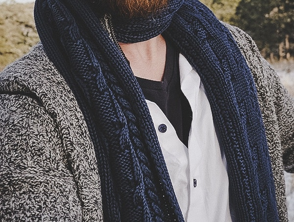 Review Mens Kinross Cashmere Navy Chunky Cable Scarf
