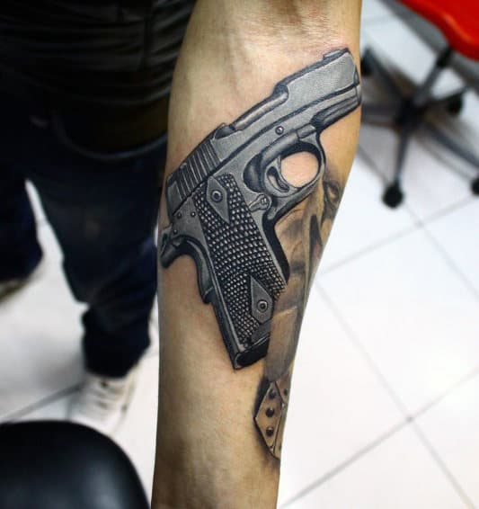 Revolver Male Tattoo Designs