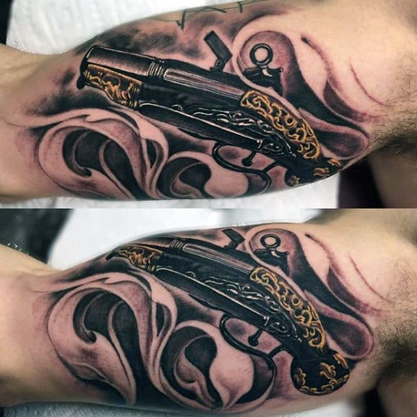 Revolver With Golden Carvings Sick Tattoo Male Arms