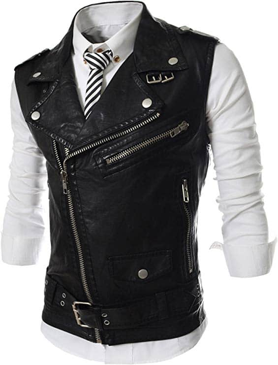 reyuy mens sleeveless motorcycle jacket vest faux leather waistcoat