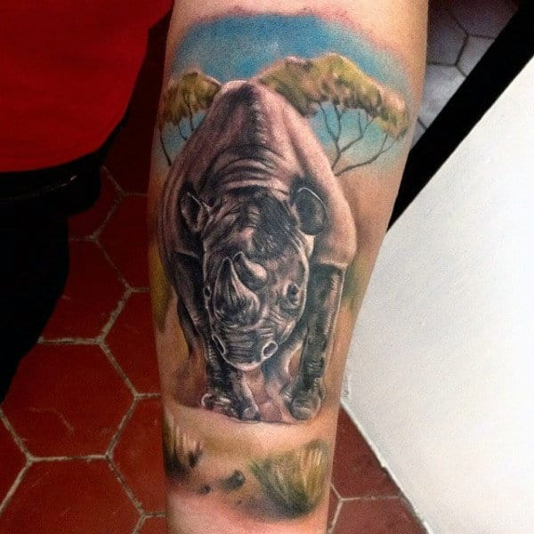 Rhino In Africa Guys Forearm Tattoo