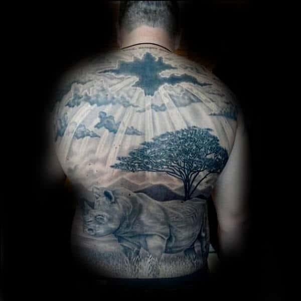 Rhino In Africa Guys Full Back Sun Ray Tattoo Design