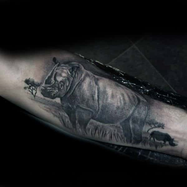 Rhino In Africa Mens Realistic Forearm Tattoo Designs