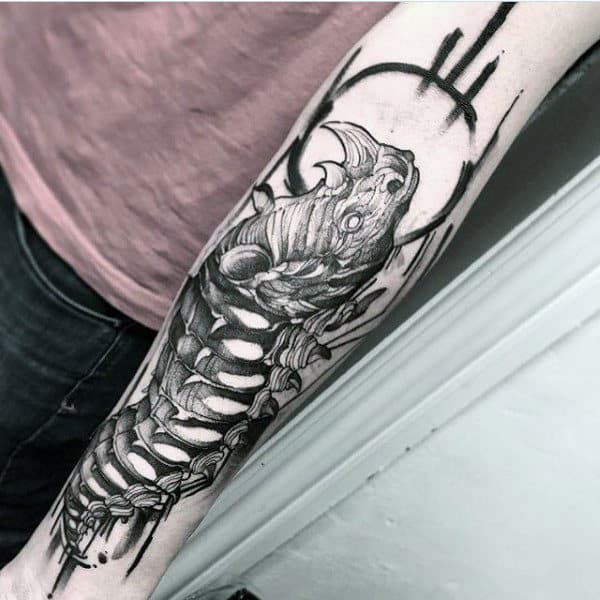 Rhino Skeleton Artistic Guys Forearm Tattoo