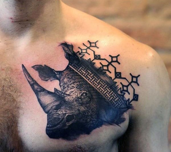 Rhino Upper Chest Animal Tattoos For Guys