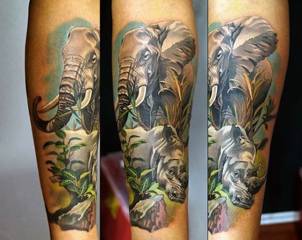 Rhino With Elephant Mens Forearm Tattoo