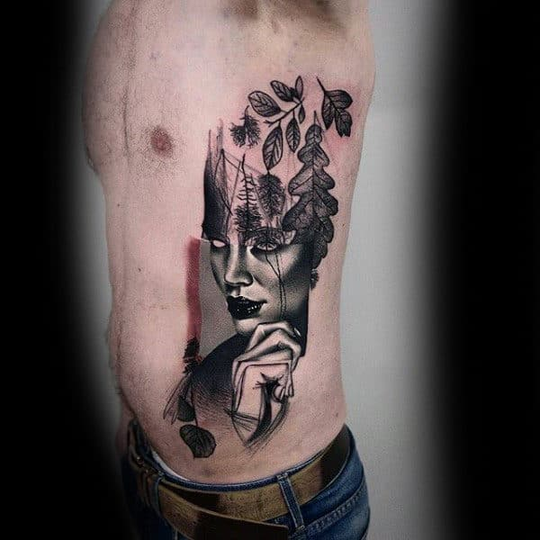 Rib Cage Insane Abstract Female Portrait Guys Tattoo