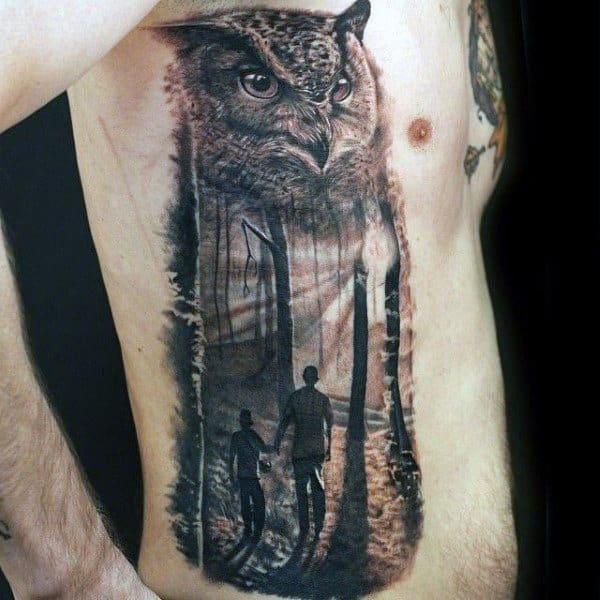 Rib Cage Owl Mens Father Son Tattoos Ideas