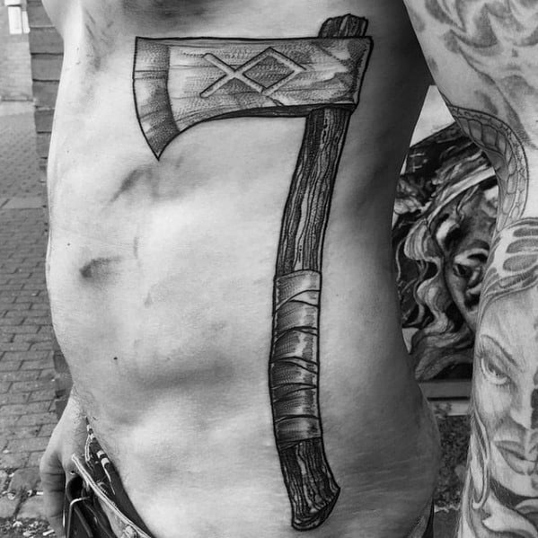 Rib Cage Side 3d Axe Tattoos Men