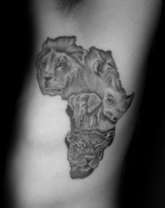 Rib Cage Side Africa Shaded Black And Grey Tattoos For Males