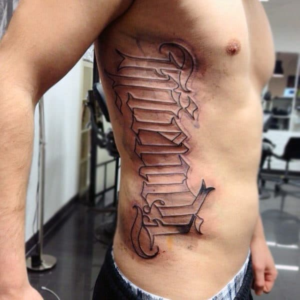 Rib Cage Side Ambigram Lettering Mens Tattoos
