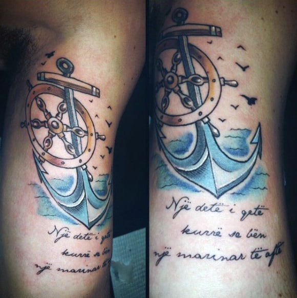 Rib Cage Side Anchor And Ship Wheel Guys Tattoos