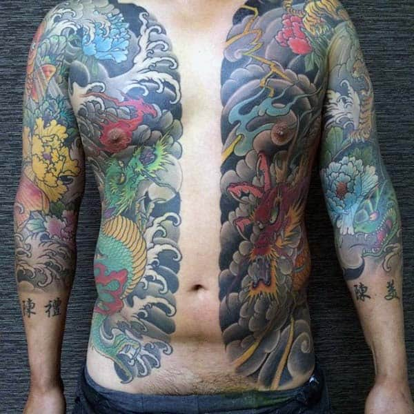 Rib Cage Side And Chest Japanese Dragon Male Tattoos