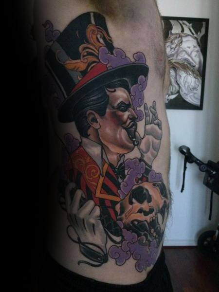 Rib Cage Side Artistic Male Circus Tattoo Ideas