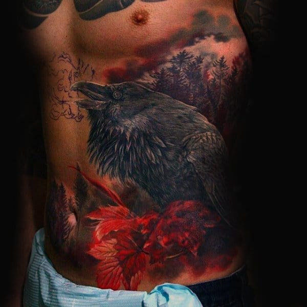 Rib Cage Side Awesome Mens Crow Tattoos