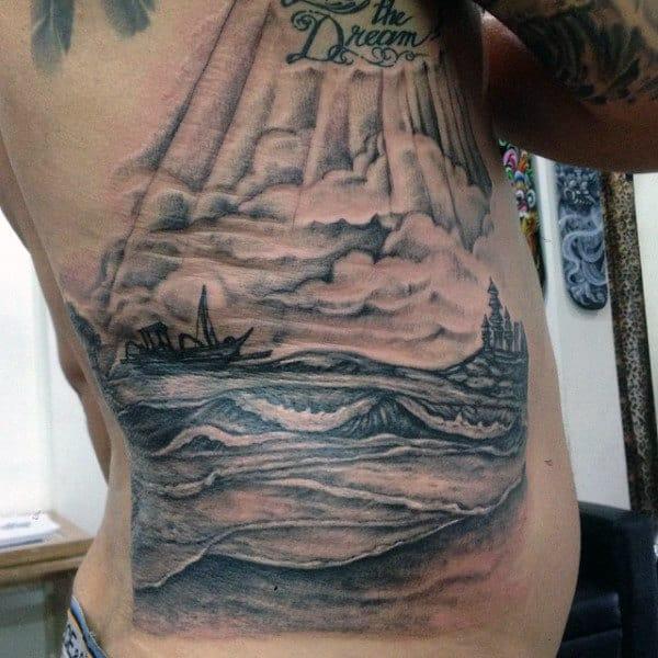 Rib Cage Side Beach Palm Tree Tattoo Design For Guys