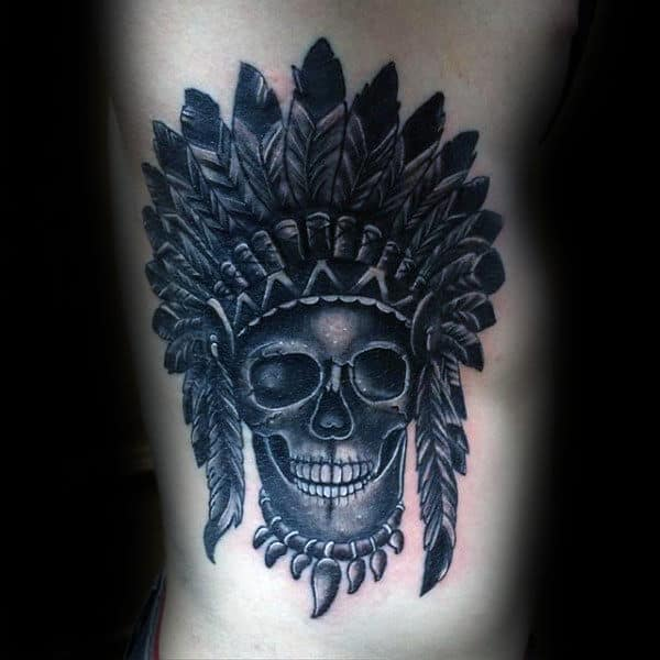 Rib Cage Side Black And Grey Indian Skull Mens Shaded Tattoo Ideas