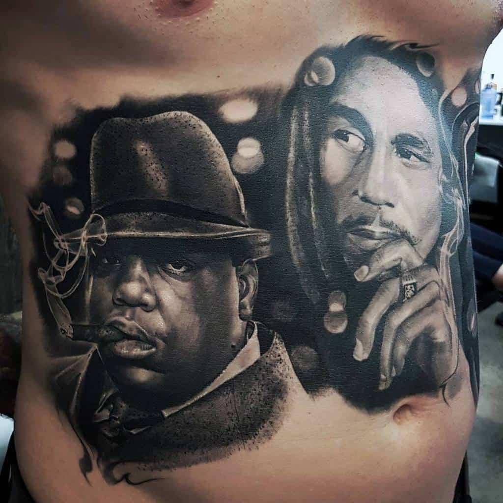 Rib Cage Side Bob Marley Tattoos Male