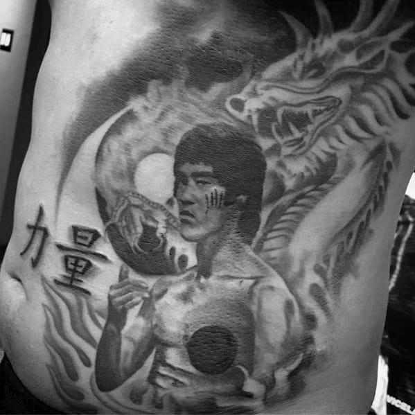 Rib Cage Side Bruce Lee Guys Tattoos