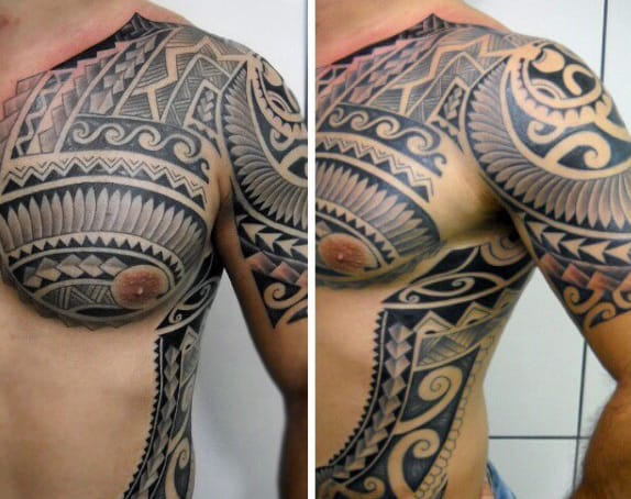 Rib Cage Side Chest And Arm Male Samoan Tattoos With Tribal Design