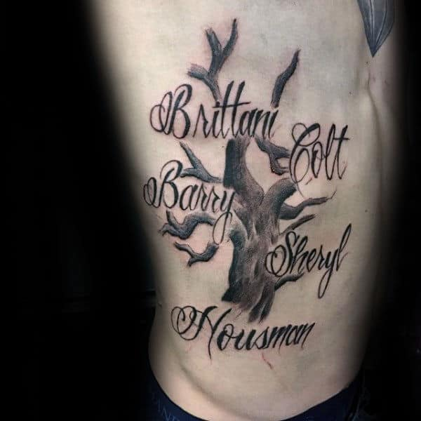 Rib Cage Side Family Tree Names Tattoos For Guys