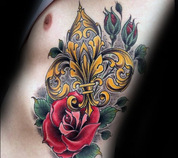 Rib Cage Side Fleur De Lis With Rose Flower Male Tattoo