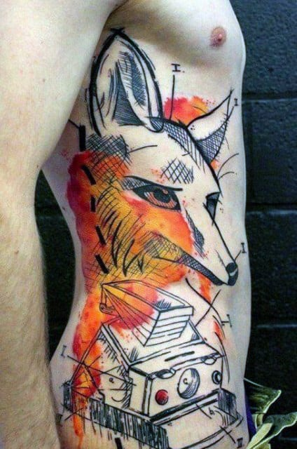 Rib Cage Side Fox And Camera Abstract Mens Tattoos
