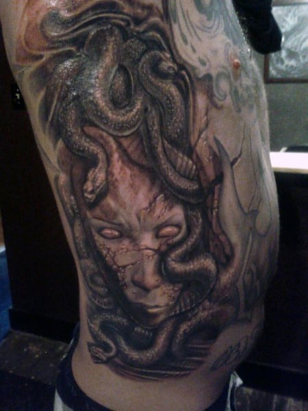 Rib Cage Side Full Medusa Snake Tattoos For Men