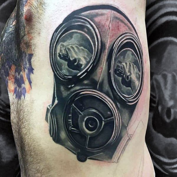 Rib Cage Side Gas Mask Tattoo For Men